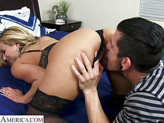 Sex-starved milf nextdoor Olivia Austin bangs young man while husband is on a business trip