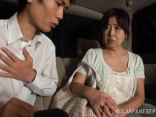 Dirty Japanese of age gives a blowjob increased by gets fucked in van