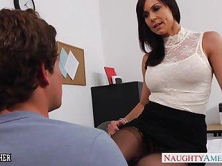 19 yo Unused geek is fucked by seductive teacher Kendra Lasciviousness