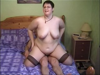 Horny MILF Bernie likes to ride a flannel to the fullest her boobs bounce