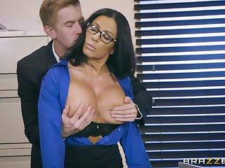 Horn mad curvy secretary Simone Garza is bent let go and fucked doggy